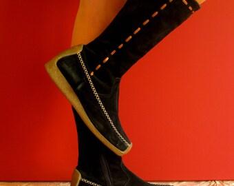 Vintage 1990s Black Suede & Rubber Calf Length Boots  Size UK 4 EU 37 Slim Fit