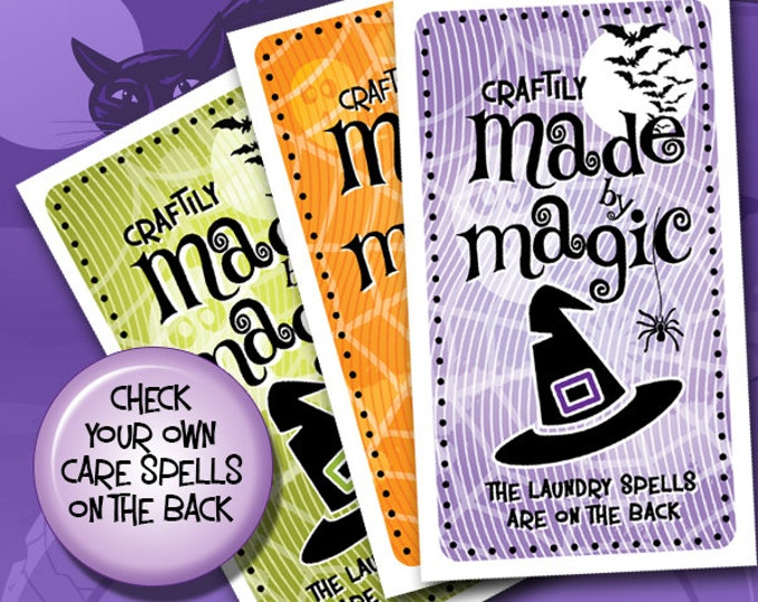 Laundry Care Tags - Halloween Printables - For Hand Made or Custom Crafted Gifts - Business Card Size - Very Spooky