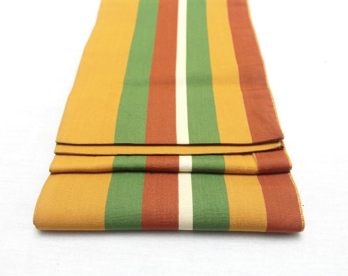 Japanese Obi. Striped Woven Silk. Mustard Warm Fall Shades (Ref: 1624)