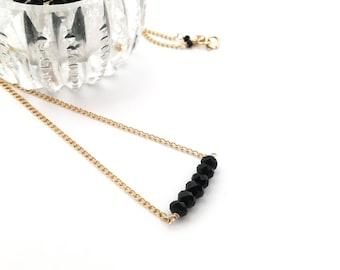 Black Onyx Stone Bar Necklace