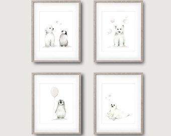 Arctic Animal Nursery Art, Set of 4, Grey Nursery, Penguin, Polar Bear, Seal, Childrens Wall Decor, Painting, Baby Animals, Toddler Room