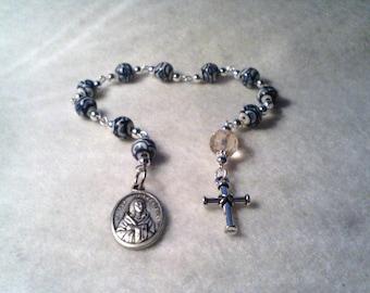 St. Kateri Tekakwitha Rosary, Ceramic Rosary, Tenner Rosary, St. Kateri Tekakwitha Rosary, St. Kateri Tekakwitha Chaplet, Chaplet