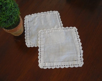 2 Small Square Lace Doilies