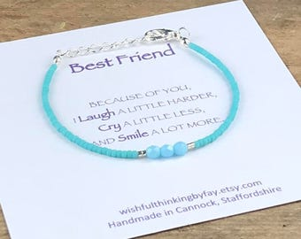 BEST FRIEND Seed Bead Friendship Bracelet with Message Card, Seed Bead Bracelet, Delicate Dainty Bracelet, UK Seller