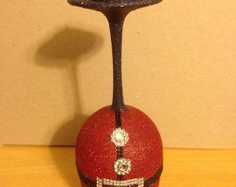 Glittered Santa Suit Wine Glass