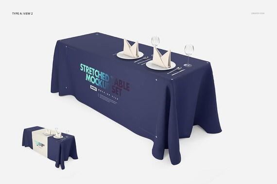 Imprinted Tablecloth Mockup Set (+runner), Custom Tablecloth, Tradeshow Table  Cloth, Runner Cover, Trade Show Custom Printed Logo, PSD