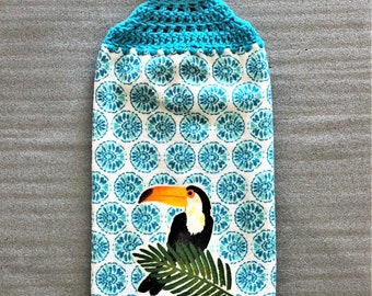 TUCAN Extra Thick Double Layer CROCHET TOWEL, decorative towel, hanging towel, #tucan, bird, tropical, kitchen towel, Mothers day gift, blue