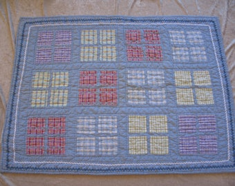 Baby Quilted Blanket 100% Cotton Part Hand Quilted Wall Hanging Plaid Design