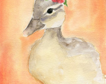 Duck Painting - 5x7 Original Watercolor - Nursery Art - Buttercup the Duck