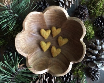 Felted wool hearts, set of 5, Amber Heather, yellow felt hearts for Valentine's Day decoration, Galentine's Day gifts, valentine under 20
