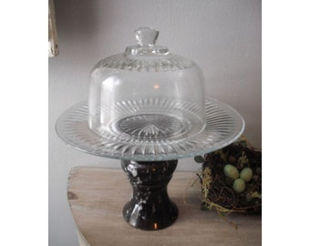 Upcycled pedestal Cloche dome server ..... elegant ... wedding .. display