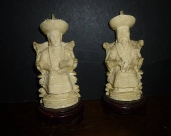 Chinese Royalty on Thrones - 1960s High End Carved White Resin on Wood Bases - Incredibly detailed king/queen on carved thrones