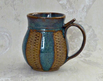 Hand Decorated Mug in Sea Mist