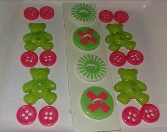 set original embellishment buttons green and pink