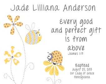 Baptism Gift for Baby Girl - Christening Gift for Girls - For Godchild - Personalized Baptism Gift - Bumble Bee and Ladybug PRINT