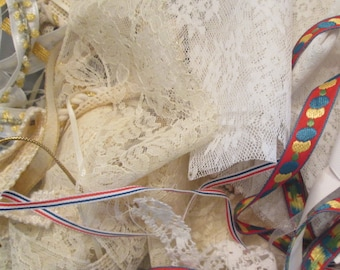 Large Assortment Trims For Sewing/Crafting - Lace/ Ribbon/ Fringe/ Braid