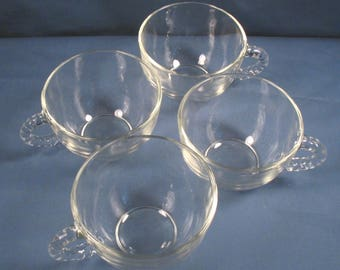 Vintage Glass Coffee Cups - Set of Four