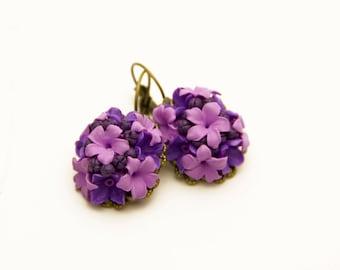 Purple earrings Purple pink earrings Purple jewelry Purple wedding earrings Dark purple earrings Flower earrings Violet Earrings floral