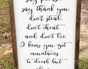 "Framed Sign"" Always Stay Humble And Kind"" Tim McGraw Sign, Farmhouse Decor, Custom Sign"