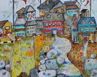 """12 x 12 PRINT Zen """"Lake Life"""" print by Jodi Ohl"""