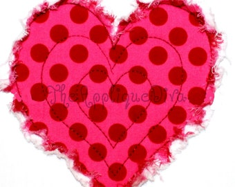 Valentine's Day Raggy Heart Embroidery Design Machine Applique