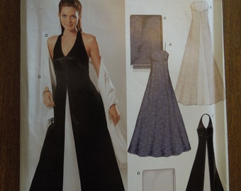 New Look 6318, sizes 6-16,  misses, womens, lined evening gown, scarf or shawl, UNCUT sewing pattern