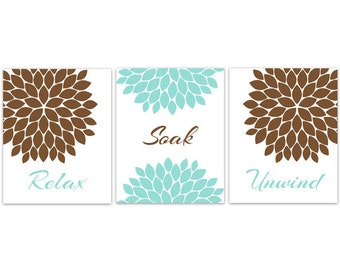 Floral CANVAS Bathroom Wall Art, Blue and Brown Bathroom Decor, Modern Bathroom Art, Relax Soak Unwind, Set of 3 Bath Art Prints - BATH83