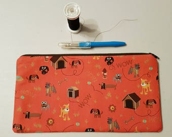 Dog Zippered Pouch Contrasting Lining Organize Travel Cosmetics School Baby Sewing Supplies