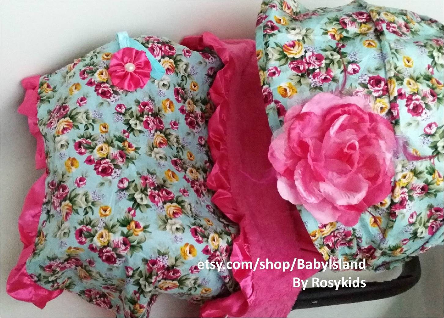 Infant Car Seat Cover Canopy Blanket Turquoise Blue Floral