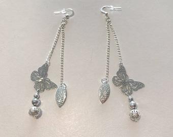 2 row silver mesh chain earrings