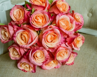 Coral silk wedding bouquet. Made with artificial roses.