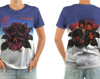 THIN LIZZY black rose shirt all sizes