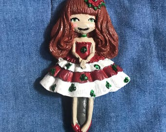 Red  Christmas Holly Doll Pendant