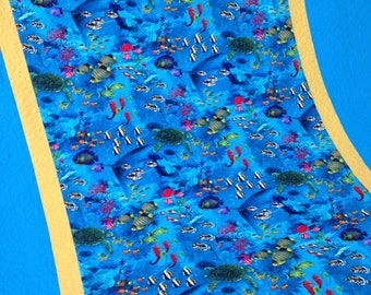 Ocean Quilt with Tropical Fish, Seahorses,Turtles and Underwater Scenes
