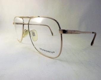American Optical Eyeglasses, Mens Gold Aviator Eyeglasses, Metal Eyeglasses, Fixed Bridge Glasses, Made in Japan