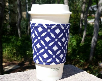 FREE SHIPPING UPGRADE with minimum -  Coffee cozy / fabric coffee cozy / coffee sleeve / coffee cup holder -- Navy and white graphic