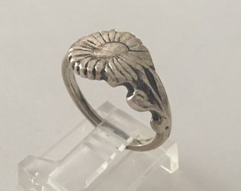 Vintage Silver Daisy Sunflower Sun Flower Floral Band Ring
