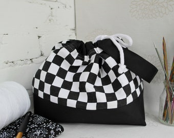 Knitting bag in checkered pattern, Sock project bag, Knitting project bag, Yarn storage bag, Gift for knitters, Knitting supplies