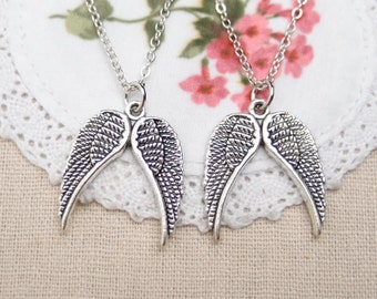 angel wings couples necklaces, sterling silver filled, together we fly,gift for couples,His and Hers Jewelry,matching couple gift,girlfriend