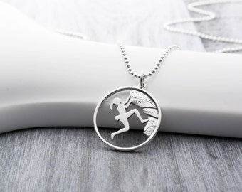 Rock Climbing Necklace in Sterling Silver, Rock Climber Jewelry, Adventure Gifts for Her, Rock Climbing Gifts, Rock Climber Gifts