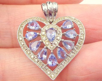 Solid 10k White Gold, Pendent, Tanzanite, & Diamonds, Vintage Pendent, Sweetheart Gift, Vintage Heart Pendent