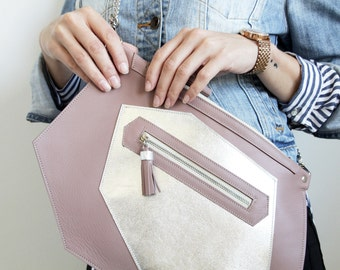 Pink leather bag / Modern purse / Prom purse / Bag with tassel / Unique bag / Statement bag / Asimetric bag / Evening purse / Leather purse