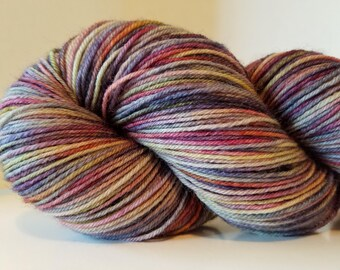 Hand Dyed sock yarn, Kettle dyed yarn, British Bluefaced Leicester 4 ply sock yarn, 438 yds, 100g