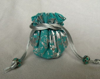 Jewelry Bag - Mini Size - Drawstring Tote - Traveling Fabric Pouch - ICY BLISS