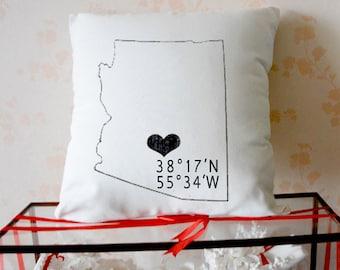 "Coordinates Pillow, Longitude and Latitude Pillow, Graduation Gift, Realtor Gift, Coordinates Cushion, Long Distance - ""The Coordinates""3120"