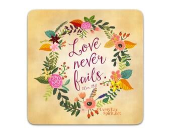 Every Day Spirit Magnet / Love Never Fails / Fridge Magnet / Scripture Quote / Bible Verse / Refrigerator Magnet