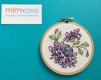 "Embroidery Kit by mlmxoxo. Chrysanthemum.  modern embroidery kit.  diy flower stitch kit.  floral.  mums.  4"" hoop art hand embroidery kit"