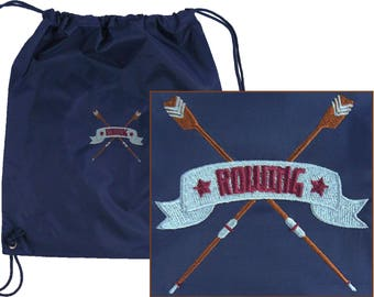 Rowing & Oars Cinch Bag Regatta Drawstring Backpack + Free Name Custom Embroidered