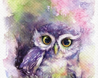 PRINT – Rainbow owl Watercolor painting 5x7""