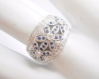 Diamond Ring, Diamond Band, Vintage Rings, Gold Ring, White Gold band, 14k White Gold .50 CTW Blue And White Diamond Flower Band Ring #3668